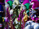 Dolls Decorated for Mardi Gras Carnival, New Orleans, Louisiana, USA