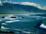 Surf with Mountains in Background, Near Greymouth, Greymouth, New Zealand