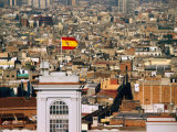 Flag Flying on City Tower, Barcelona, Catalonia, Spain