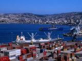 Cargo Ships in City Port, Valparaiso, Chile