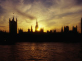 Houses of Parliament Silhouetted at Sunset, London, United Kingdom