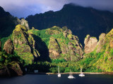 Boats Moored at the Bay of Virgins, Fatu Hiva Island, Marquesas, The, French Polynesia
