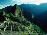 Ancient Ruins on Hillside, Machu Picchu, Cuzco, Peru
