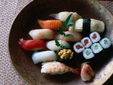 Sushi in a Wooden Bowl, Japan,