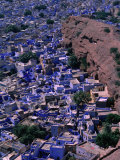 Famous Blue-Washed Houses Seen from Clifftop Meherangarh Fort, Jodhpur, India