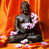 Buddha with Flowers Art Print