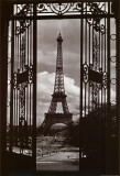 Eiffel Tower Through Gates Poster