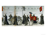 Nobles Lead Riderless Horses in the Funerary Procession Held for Emperor Charles V in Brussels