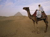 Bedouin Camel Rider in Front of Pyramid of Djoser, Egypt, North Africa