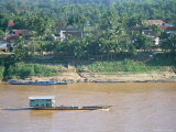 Looking East, with Mekong River Traffic and Part of Luang Prabang, Laos, Indochina