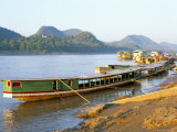 Looking North up the Mekong River, Boats Moored at Luang Prabang, Laos, Indochina