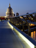 Millennium Bridge and St. Pauls Cathedral, London, England, UK