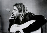 Kurt Cobain (Smoking) With Guitar Black & White Music Poster - Poster
