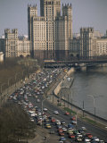 Rush Hour Traffic on Moskvoretskaya, Moskva River, Moscow, Russia