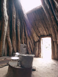 Smoke Hole and Doorway in Navaho (Navajo) Dwelling of Mud Covered Pinyon Pine Logs, Arizona, USA