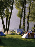 Camping on Wallensee, Churfirsten Range Near Wallenstadt, Switzerland