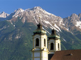 Church with Mountain Backdrop, Innsbruck, Tirol (Tyrol), Austria