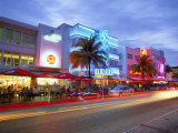 Art Deco District at Dusk, Ocean Drive, Miami Beach, Miami, Florida, USA