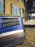 Oyster Boat Outside the Oyster Stores on the Seafront, Whitstable, Kent, England