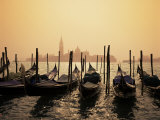 Gondolas and the Church of San Giorgio Maggiore, Venice, Veneto, Italy