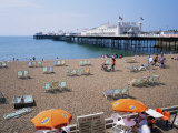The Palace Pier and Beach, Brighton, Sussex, England, United Kingdom