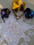 Women Painting a Mandana on the Ground, Village Near Jodhpur, Rajasthan State, India