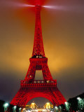 Eiffel Tower Decorated for Chinese New Year, Paris, France Photographic Print