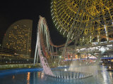 Rollercoaster and Fun Fair Amusement Park at Night, Minato Mirai, Yokohama, Japan