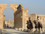 Young Men on Camels, Monumental Arch, Archaelogical Ruins, Palmyra, Syria