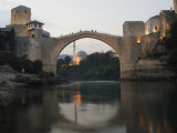 Stari Most Peace Bridge and Reflection of Mosque on Neretva River, Bosnia, Bosnia-Herzegovina