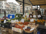 Fruit and Vegetable Stall at Canal Side Market, Venice, Veneto, Italy
