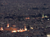 Aerial View of City at Night Including the Umayyad Mosque, Damascus, Syria