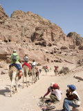 Tourist on Camels in Petra, Unesco World Heritage Site, Wadi Musa (Mousa), Jordan, Middle East