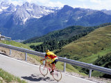 Cyclist Riding Over Sella Pass, 2244M, Dolomites, Alto Adige, Italy