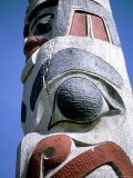 Detail of Totem Pole, Queen Charlotte Islands, British Columbia (B.C.), Canada