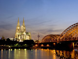 Cologne Cathedral and Hohenzollern Bridge at Night, Cologne, North Rhine Westphalia, Germany