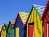 Colourfully Painted Victorian Bathing Huts in False Bay, Cape Town, South Africa, Africa