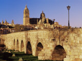 The Roman Bridge and City from the Tormes River, Salamanca, Castilla Leon, Spain