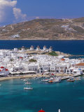 Aerial View of Mykonos (Hora) and Harbour, Mykonos (Mikonos), Cyclades Islands, Greece