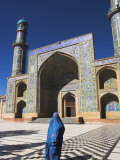 Lady Wearing a Blue Burqua Outside the Friday Mosque (Masjet-E Jam), Herat, Afghanistan