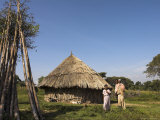 Oromo Family Outside Their House, Oromo Village Near Langano Lake, Rift Valley, Ethiopia, Africa