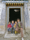 Group of Children from Village, Chedadong, Tibet, China