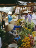 Flower Stall in Southern Delta Village of Mytho, Vietnam, Indochina, Southeast Asia