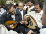 Musicians Attending a Village Wedding, Anogia, Crete, Greek Islands, Greece