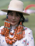 Portrait of a Tibetan Woman Wearing Jewellery Near Maqen, Qinghai Province, China Photographic Print