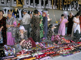 Selling Traditional Textiles for Weddings, Urgut, Uzbekistan, Central Asia Photographic Print