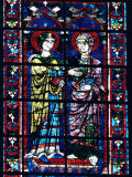 Two Angels in Stained Glass in the Central Choir, Chartres Cathedral, Chartres