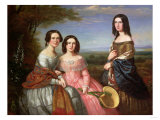 A Group Portrait of Three Girls, Three Quarter Length, in a Landscape, 1849 Giclee Print