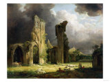 Glastonbury Abbey with the Tor Beyond Giclee Print