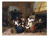 Peasants Eating Waffles in a Tavern on a Feast Day, 1693)